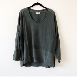 Madewell Forest Green Silk Blouse